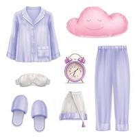 ilustração vetorial conjunto realista de acessórios para dormir vetor