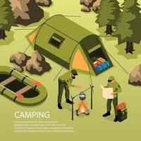 ilustração em vetor camping composição isométrica