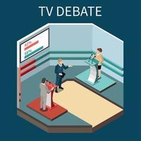 ilustração vetorial de fundo isométrico debate tv vetor