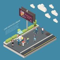 ilustração em vetor cartaz isométrico de carrinho de sorvete