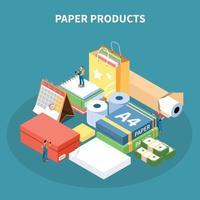 ilustração em vetor conceito design isométrico produtos de papel