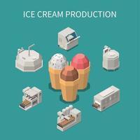 ilustração em vetor fundo isométrico de produção de sorvete