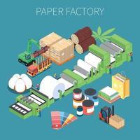 ilustração vetorial de fundo isométrico de fábrica de papel vetor