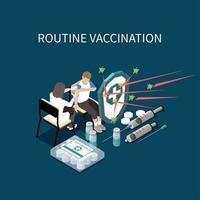 ilustração vetorial de fundo isométrico de vacinação de rotina vetor