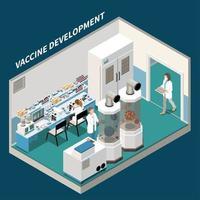 ilustração vetorial isométrica de fundo de desenvolvimento de vacina vetor