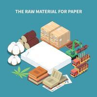 ilustração vetorial de fundo isométrico de produção de papel vetor