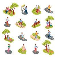 ilustração vetorial conjunto isométrico de pessoas da cidade vetor