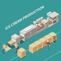 ilustração em vetor ilustração isométrica de produção de sorvete