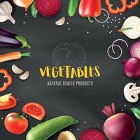 ilustração em vetor quadro quadro-negro de vegetais realistas