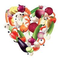coração da ilustração vetorial de composição de vegetais vetor