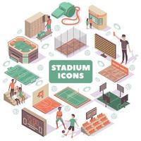 ilustração vetorial de composição redonda de ícones de estádio vetor