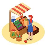 ilustração vetorial de composição de mercado agrícola local vetor