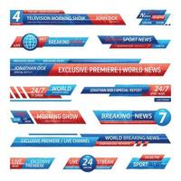 barras de notícias de televisão definir ilustração vetorial vetor