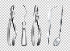 Diferentes ferramentas utilizadas na clínica de dentista vetor
