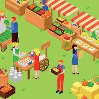 ilustração em vetor fazenda feira mercado composição