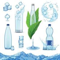 ilustração vetorial realista de conjunto de água mineral vetor