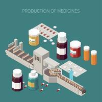 ilustração em vetor conceito produção farmacêutica