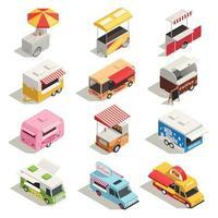 ilustração vetorial conjunto de ícones isométricos carrinhos de rua caminhões vetor