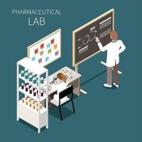 ilustração em vetor conceito laboratório farmacêutico