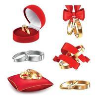 ilustração vetorial conjunto realista de anéis de casamento vetor