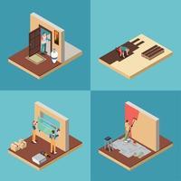 Conjunto de ícones de conceito de trabalhador de reparos domésticos vetor