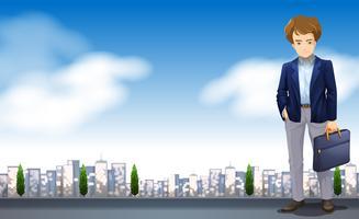 Um, homem negócios, em, um, scence, com, edifícios vetor