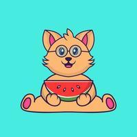 gato bonito comendo melancia. vetor