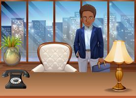 Um, homem negócios, em, um, cena escritório vetor