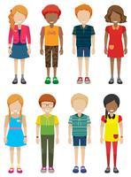 Adolescentes masculinos e femininos sem rostos vetor