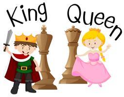Rei e rainha com jogo de xadrez vetor