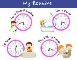 Crianças e rotina em um dia vetor