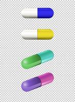 Cápsulas em cores diferentes vetor