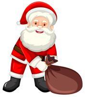 Papai Noel feliz com saco vetor