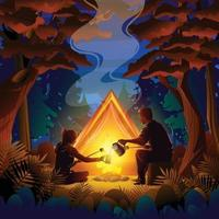 conceito de acampamento de outono à noite vetor