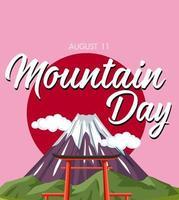 Dia da montanha no banner do Japão com Monte Fuji vetor