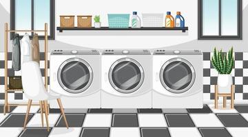 cena da lavanderia com máquina de lavar e cabide vetor