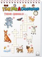 template de jogo de palavras cruzadas sobre animais vetor