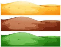 Três cenas de colinas com diferentes cores vetor