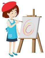 Artista pintando em tela vetor