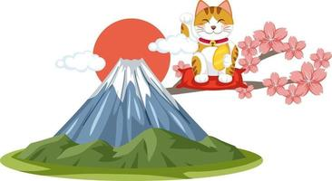 gato da sorte japonês maneki neko com monte fuji vetor