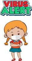 Projeto de fonte de alerta de vírus com uma garota usando máscara médica vetor