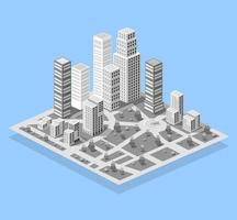 cidade em construção de arranha-céu moderno para paisagem urbana vetor