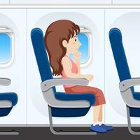 Menina, avião, assento vetor