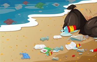 Um, praia poluição, fundo vetor
