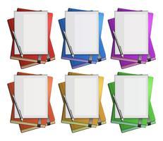 Papel em branco em livros de cores diferentes vetor