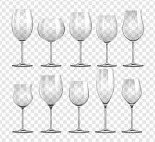 Diferentes tipos de copos de vinho vetor