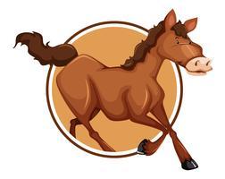 Um cavalo no modelo de etiqueta vetor