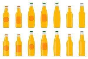 ilustração em garrafas de vidro de cerveja de kit grande com tampa para cervejaria vetor