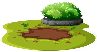 Lagoa de lama no jardim vetor