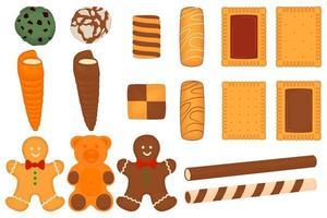 conjunto grande de biscoitos diferentes, kit de biscoito de confeitaria colorido vetor